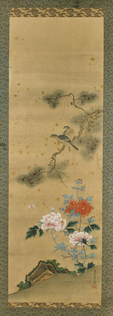 Pair Antique Japanese Silk Paintings