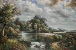 Large Oil on Canvas Painting: Landscape