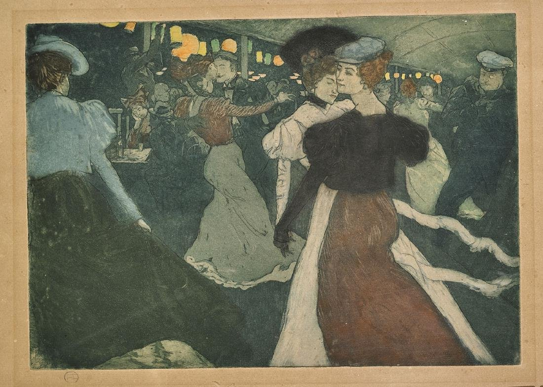 Toulouse-Lautrec-Style Colored Etching