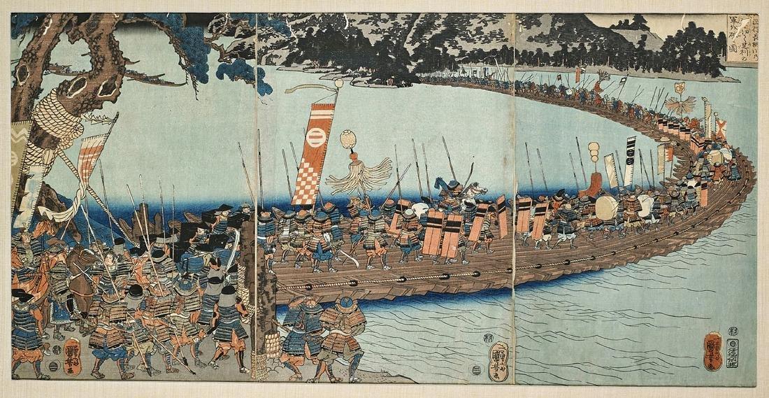 Antique Japanese Woodblock Triptych by Kuniyoshi