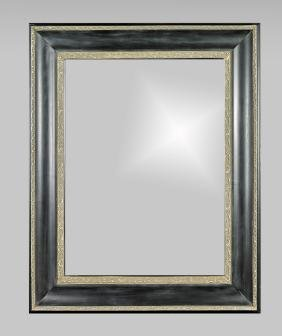Large Black & Silver-Toned Wood Mirror