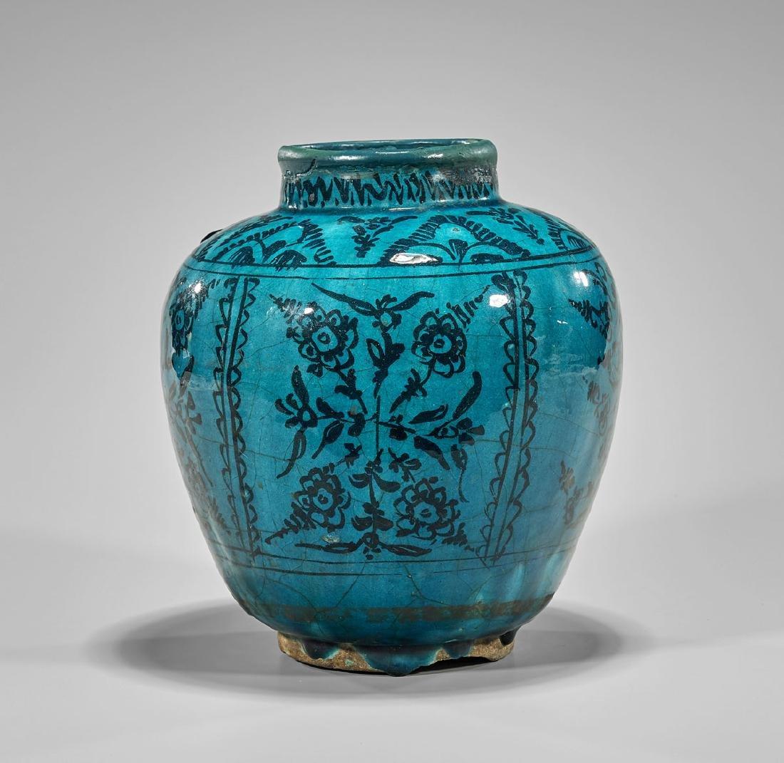 Antique Persian Glazed Terracotta Jar