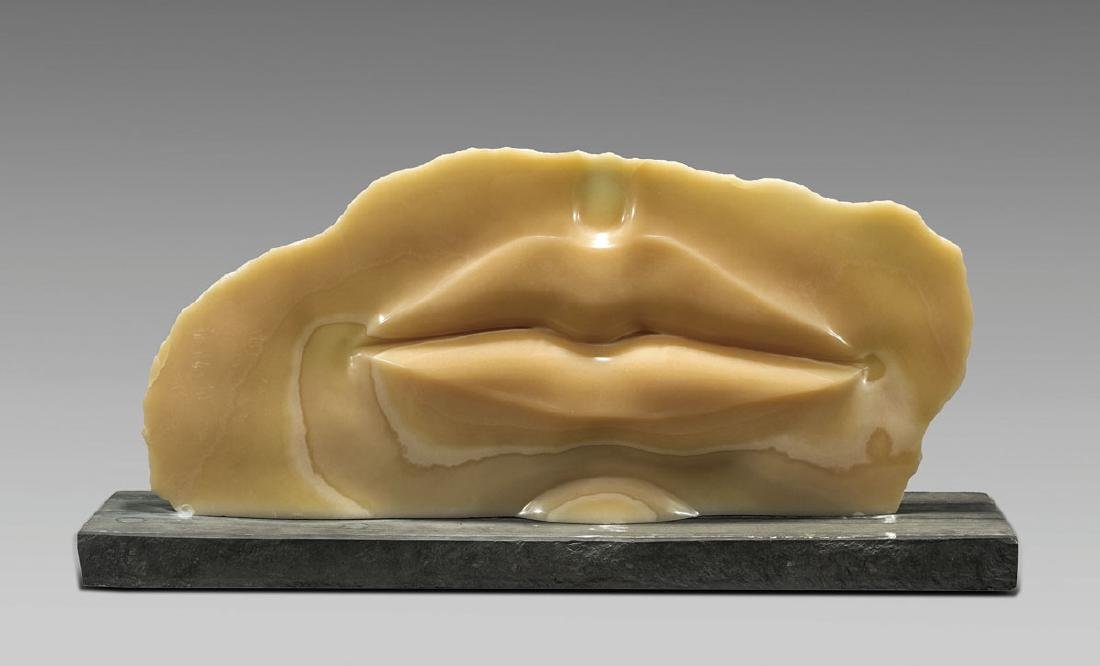 Modern Carved Onyx Sculpture: Lips