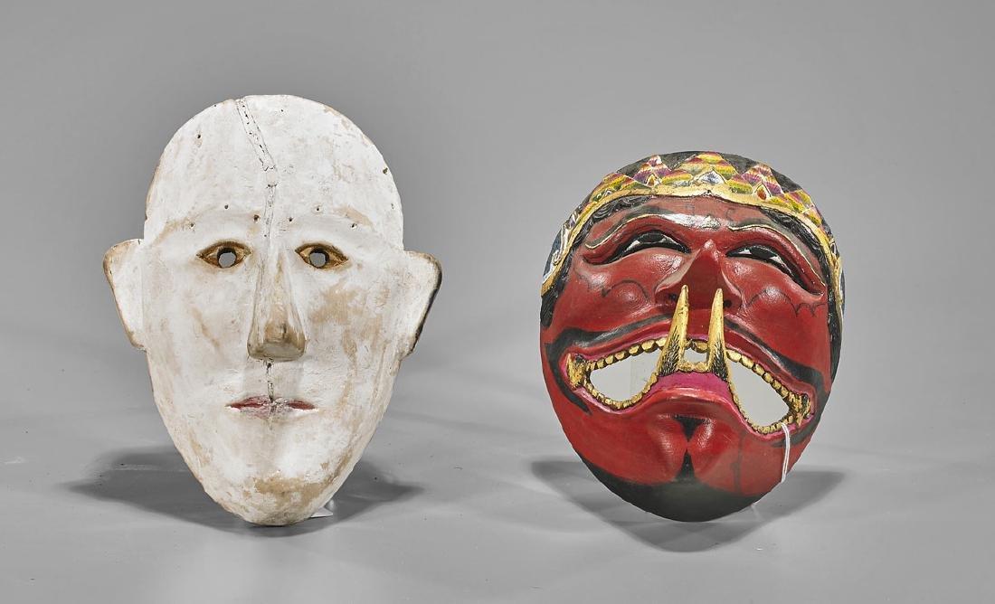 Four Indonesian Polychrome Wood Masks - 2