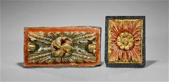 Two Antique Baroque-Style Polychrome Wood Panels