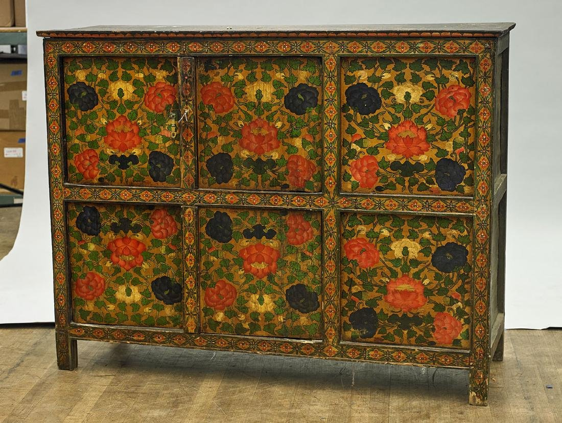 Antique Tibetan Painted Wood Cabinet