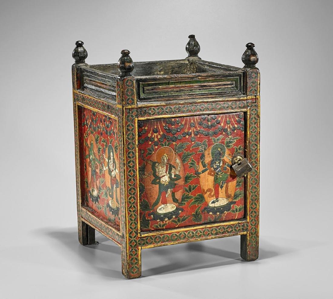 Antique Tibetan Painted Cabinet/Pedestal Stand