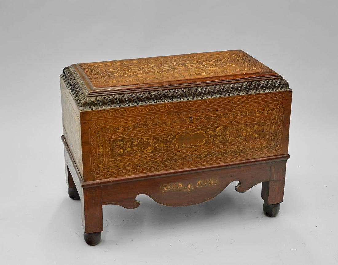 Old Wood Marquetry Coffer