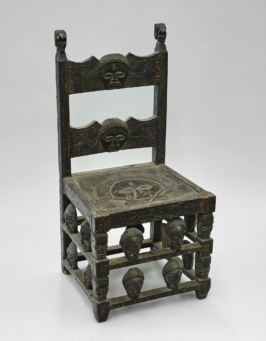Elaborately Carved African Wood Chair