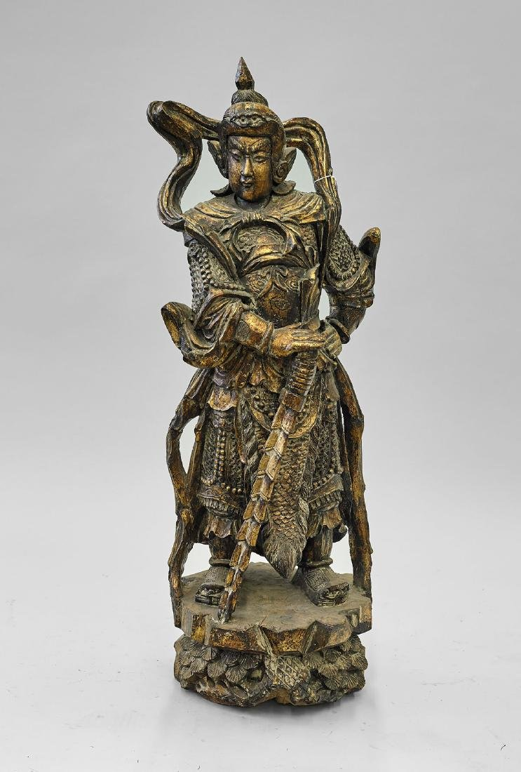Chinese Carved & Gilt Wood Guardian