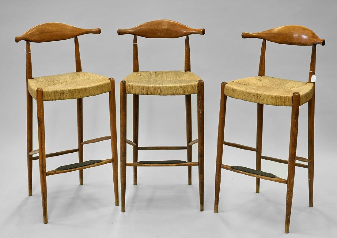 Set of Three Wood & Wicker Chairs