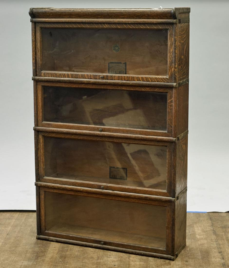 Vintage Barrister-Style Wood Bookcase