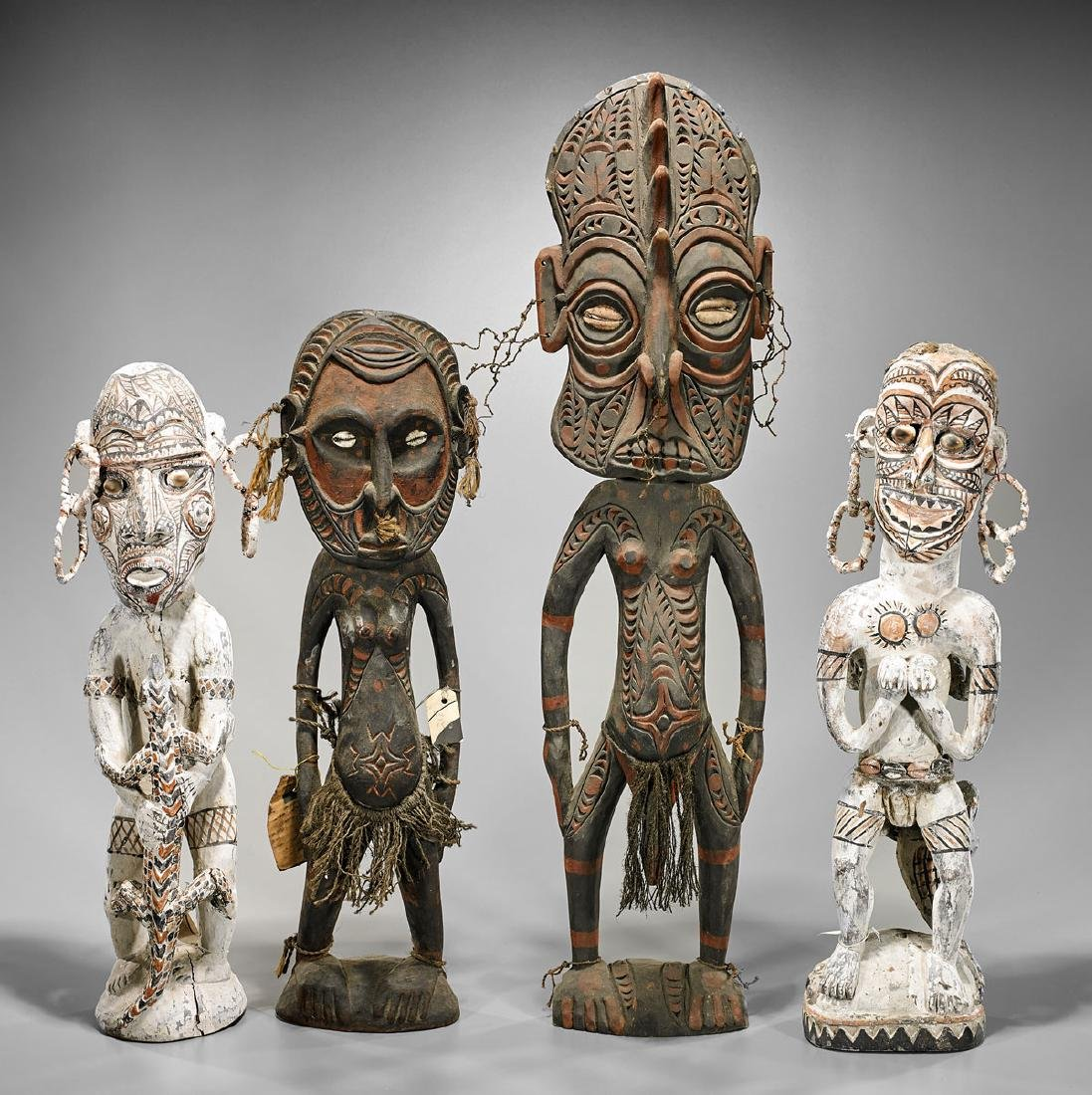 Four Oceanic Polychrome Wood Figures