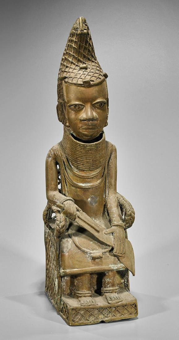 African Benin-Type Bronze Seated Royal