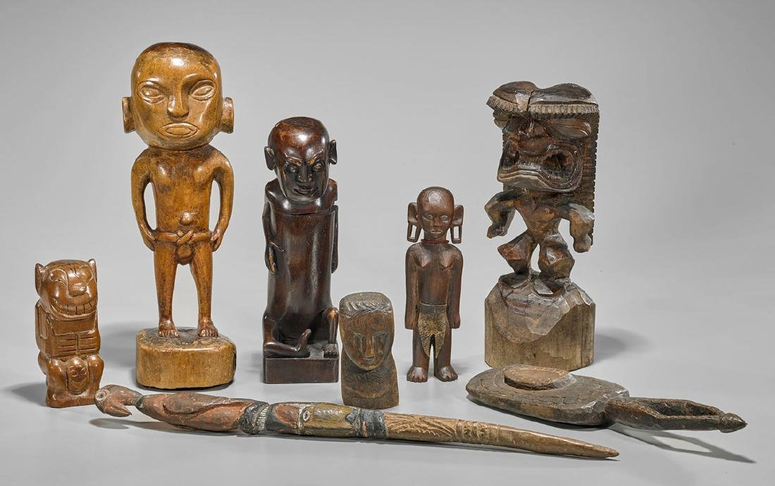 Group of Eight Indigenous Wood Carvings