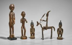 Group of Five African Wood & Bronze Figures