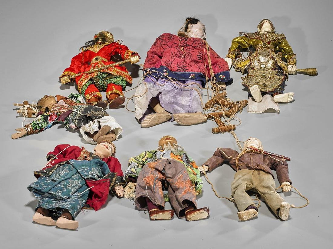 Group of Seven Southeast Asian Marionettes
