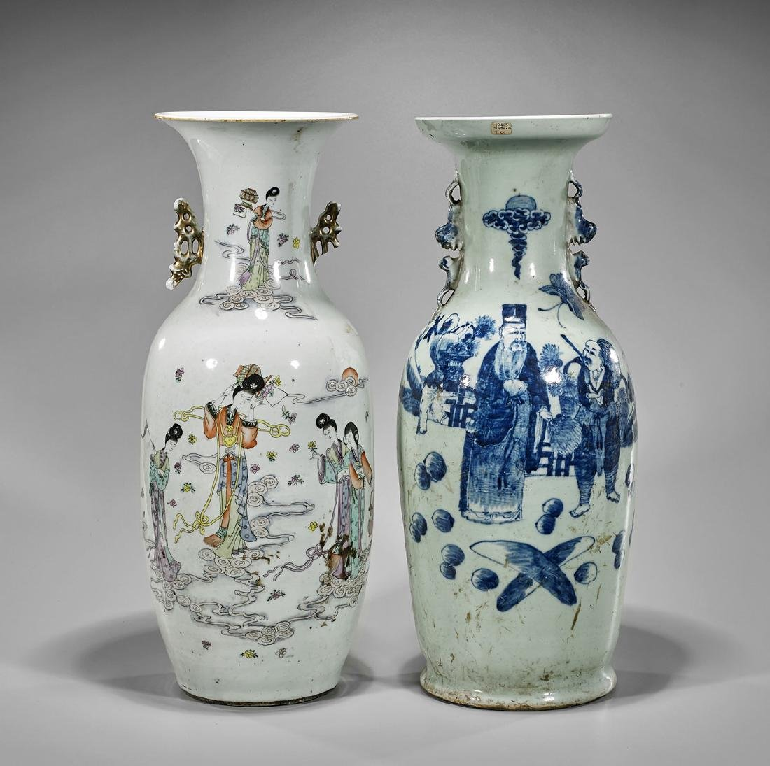 Two Antique Chinese Porcelain Vases: Celestial Maidens