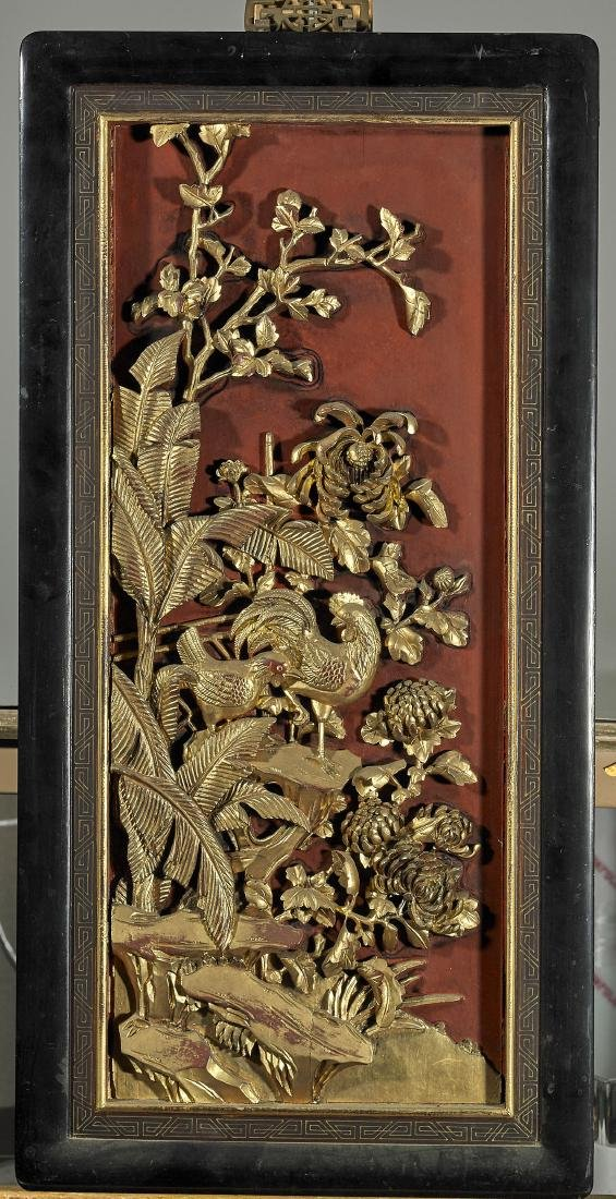 Two Old Chinese Lacquered Wood Panels