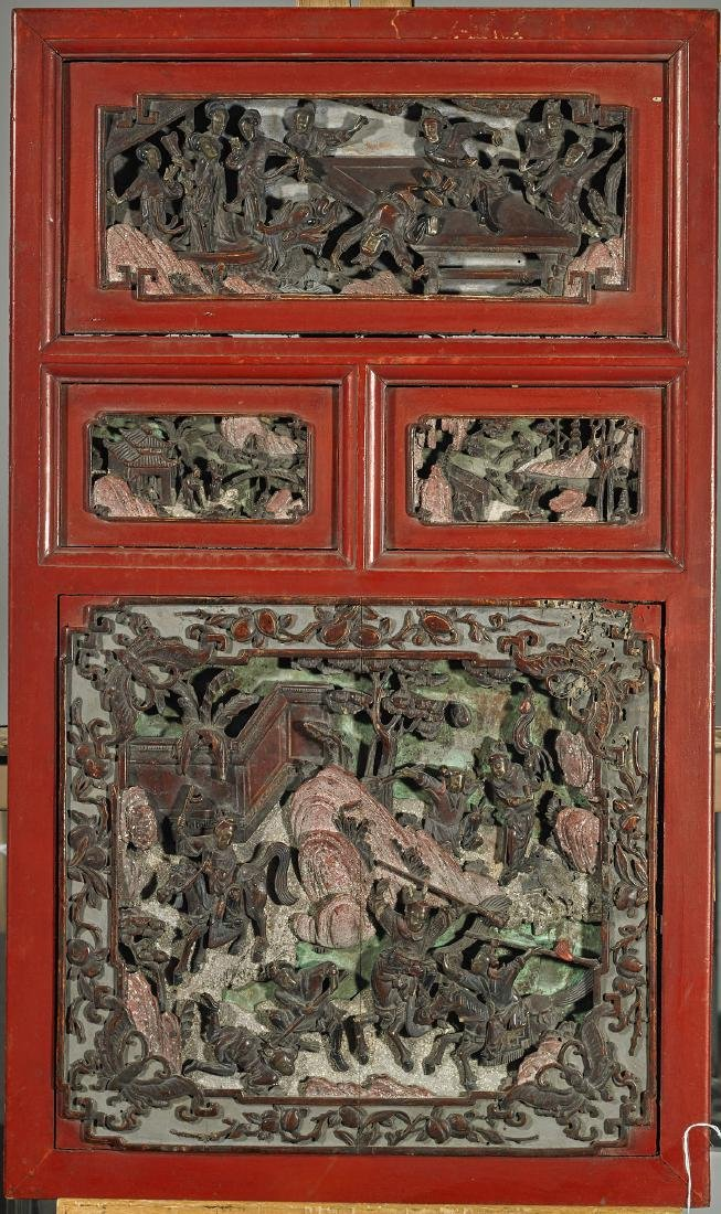 Two Old Chinese Lacquered Wood Panels - 2