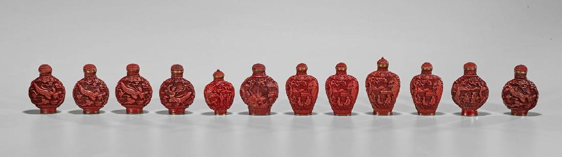 Group of Chinese Cinnabar-Like Composite Snuff Bottles
