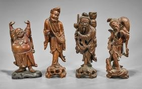Four Chinese Carved Wood Figures