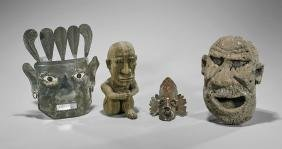 Group of Various Metalwork and Stone Figural Pieces