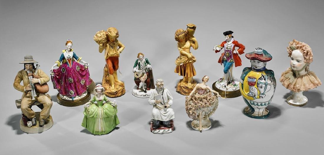 Group of Eleven Continental Porcelains