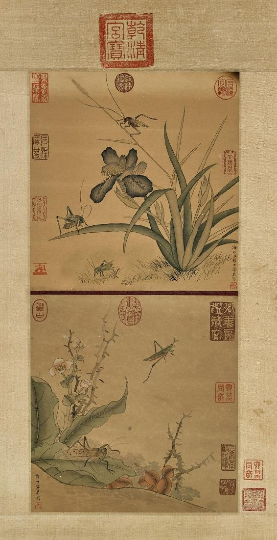 Two Chinese Paper Scrolls: Insects & Flora - 3