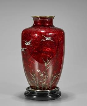 Old Japanese Ginbari Cloisonne Enamel Vase