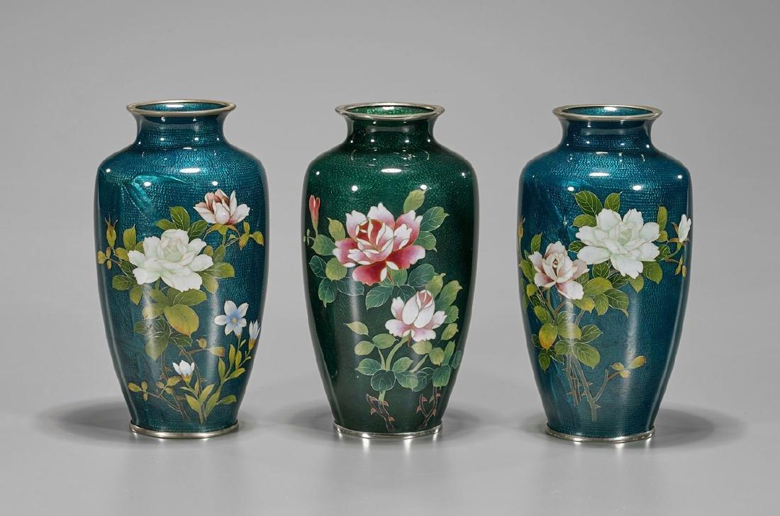 Three Japanese Ginbari Cloisonne Enamel Vases