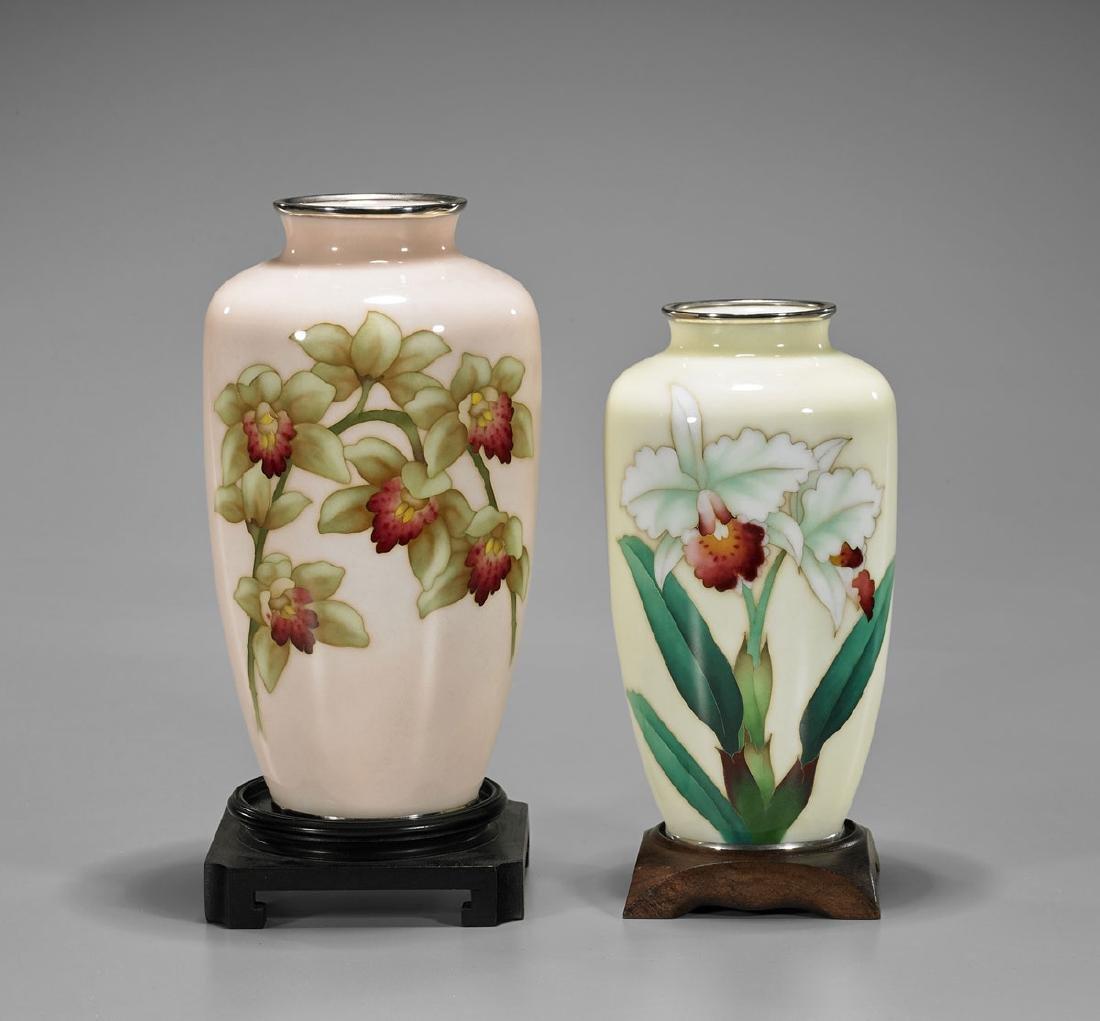 Two Old Japanese Cloisonne Enamel Vases