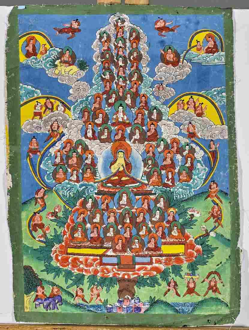 Pair Old Sino-Tibetan Painted Thangkas