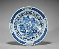 Large Antique Chinese Blue & White Porcelain Charger