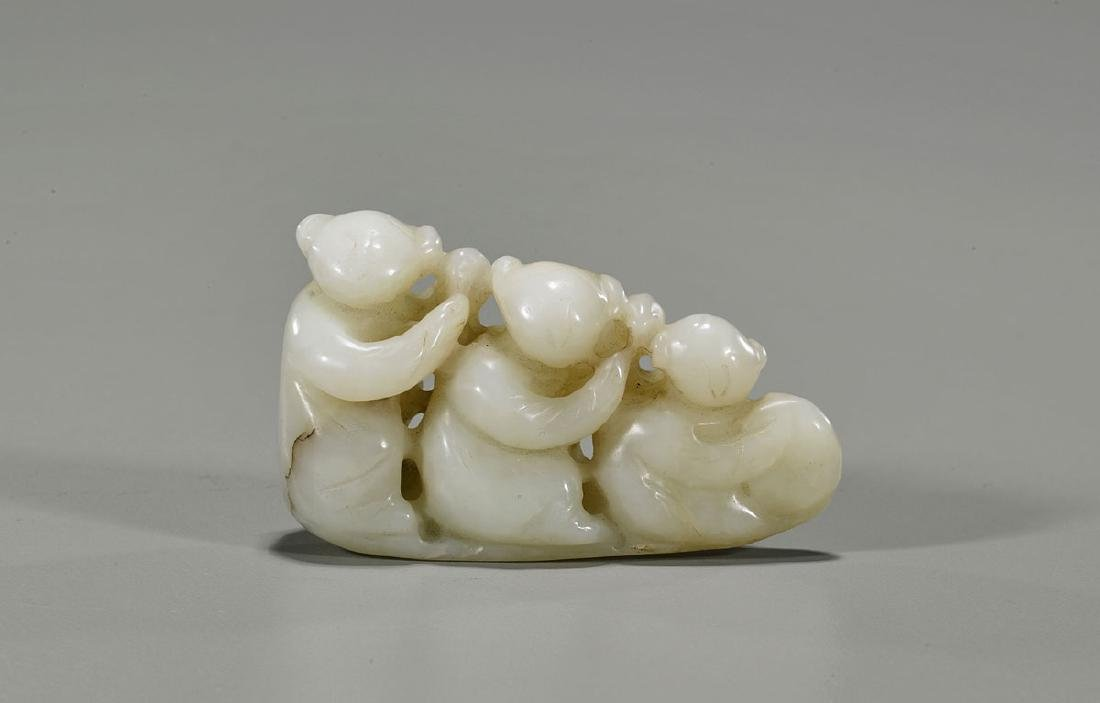 Old Chinese Carved White Jade Toggle