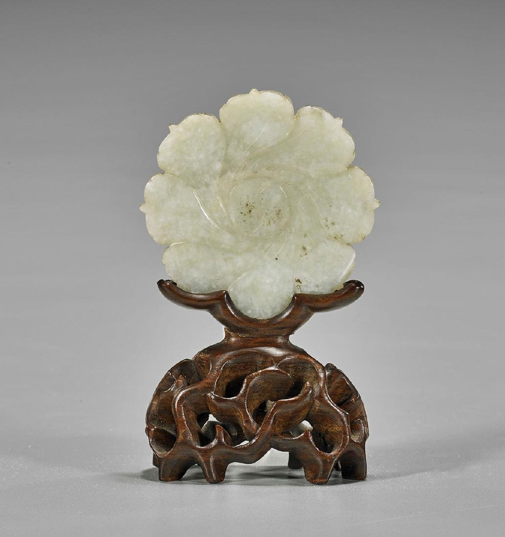 Antique Chinese Carved Celadon Jade Plaque: Peony