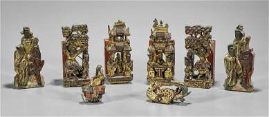 Group of Various Antique Chinese Gilt & Lacquered Wood