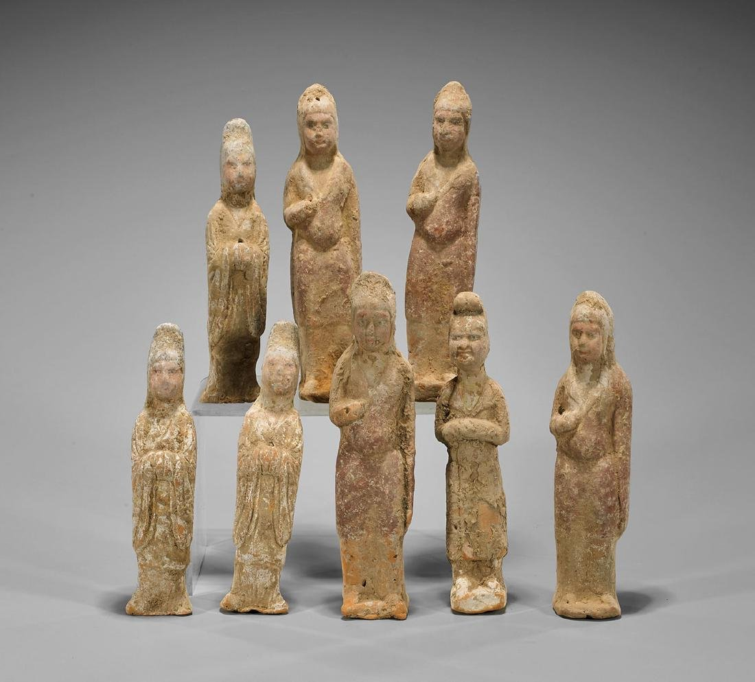Set of Eight Tang Dynasty Pottery Figures