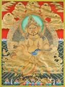 SinoTibetan Painted Thangka Jambhala