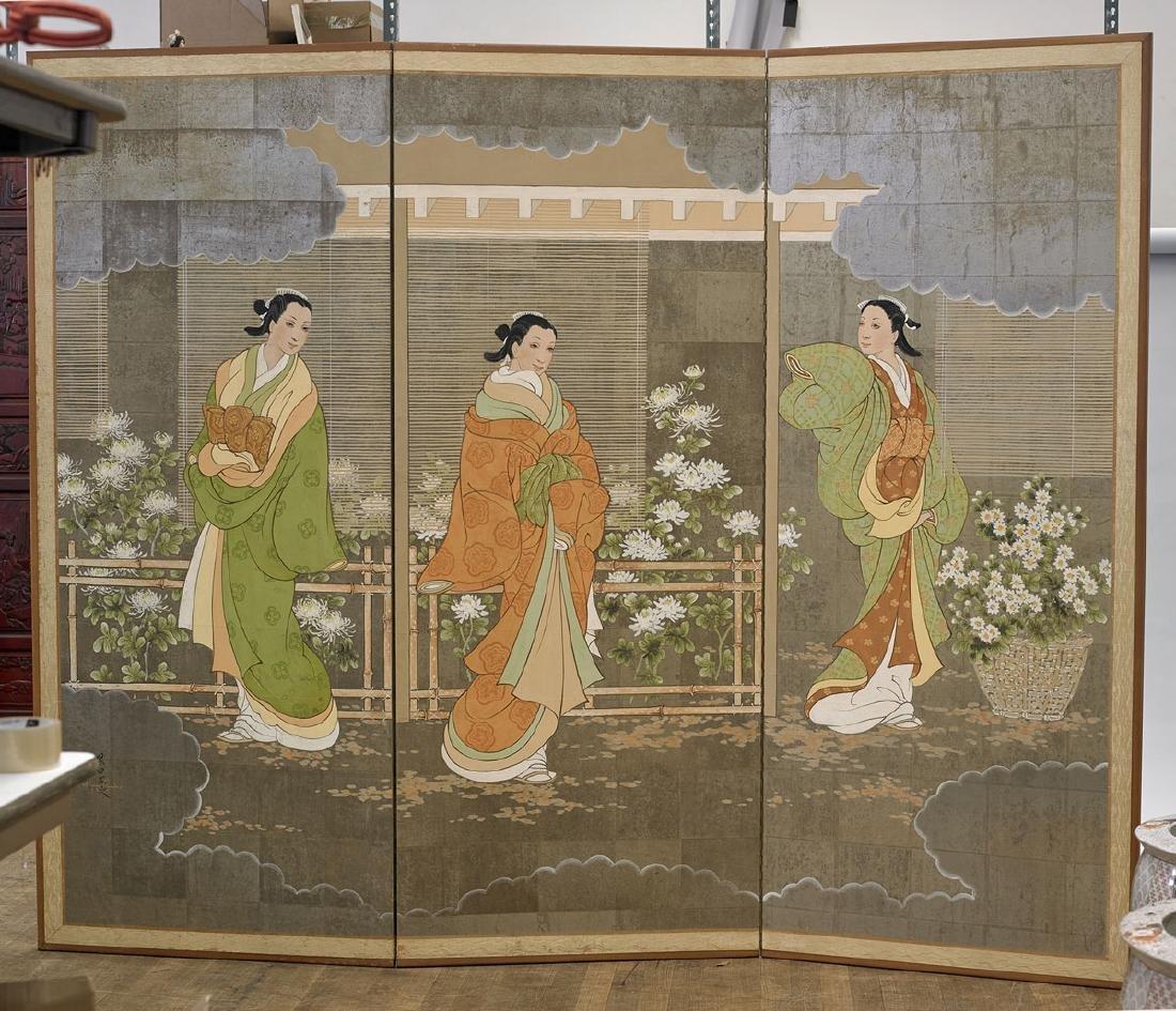 Japanese-Style Three-Panel Screen Signed Robert Crowder