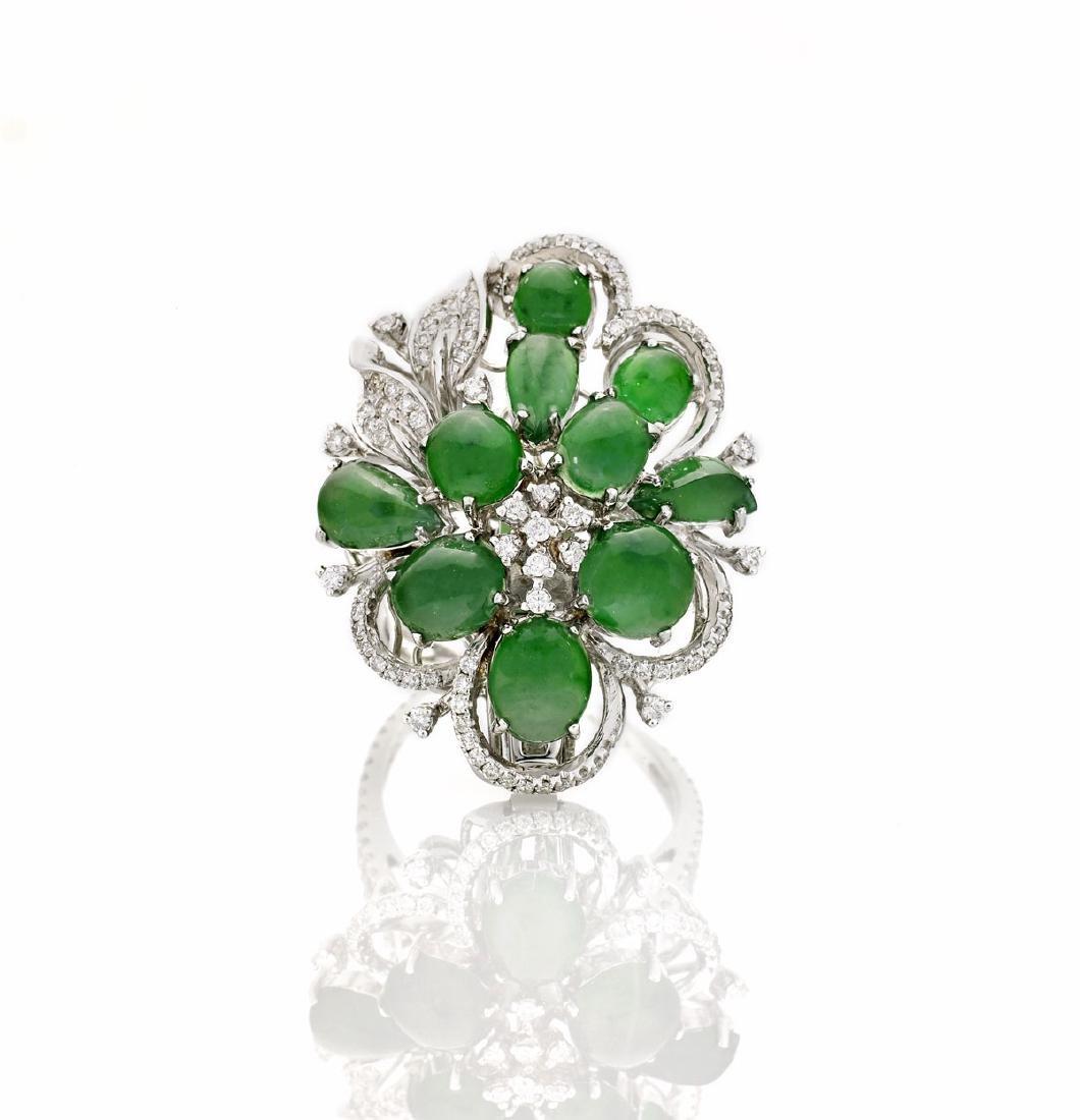 Jadeite, Diamond & 18K Gold Ring/Brooch