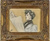 Graphite & Pastel Portrait After Ramon Casas