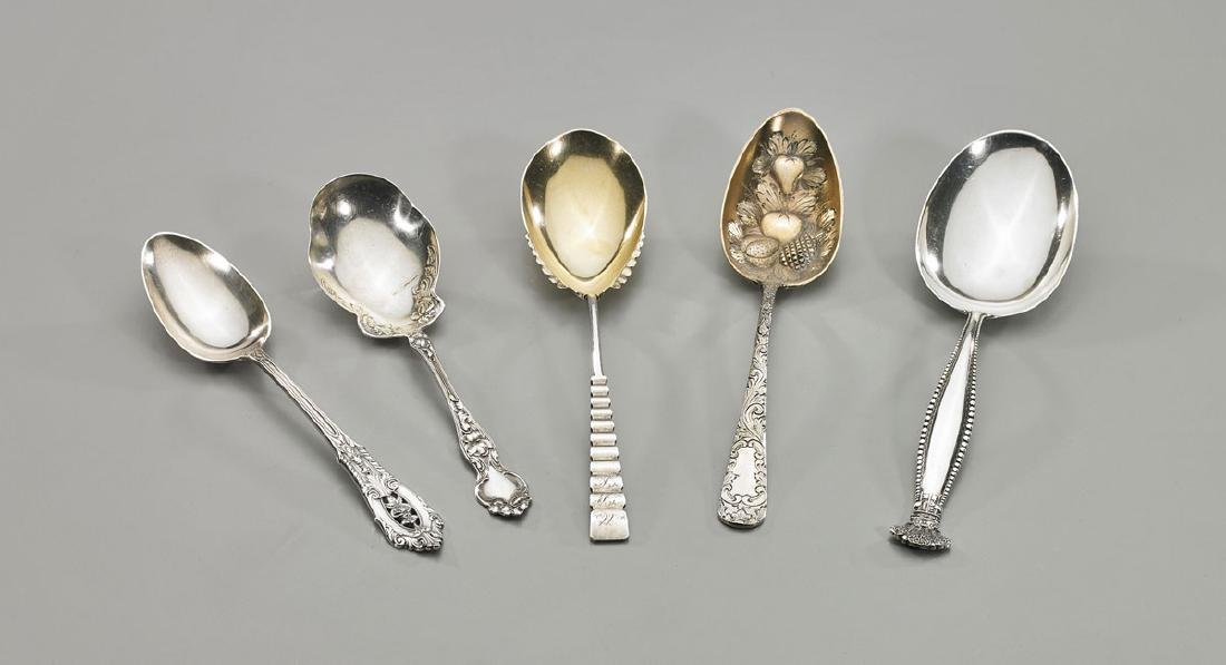 Five American Sterling Silver Serving Spoons