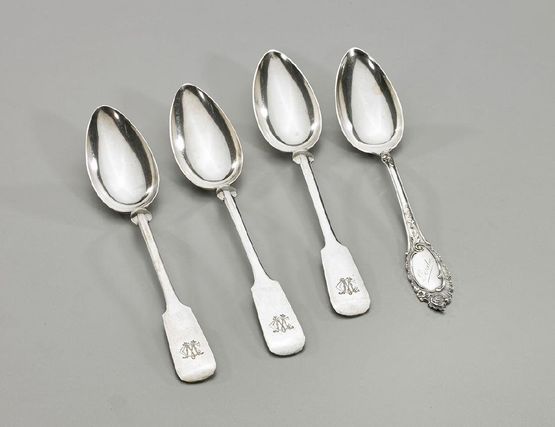 Group of Four Old & Antique German Silver Spoons