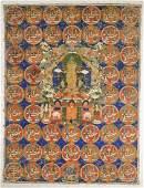 Old SinoTibetan Painted Thangka Buddha