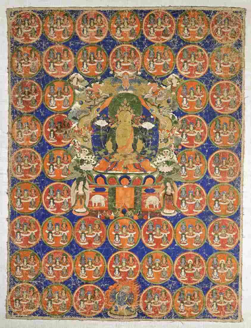 Old Sino-Tibetan Painted Thangka: Buddha