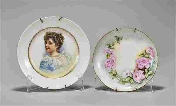 Two Antique Continental Porcelain Plates