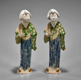 Pair Chinese Parcel-Glazed Pottery Figures