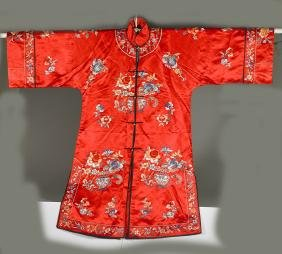 Chinese Embroidered Silk Flora Robe