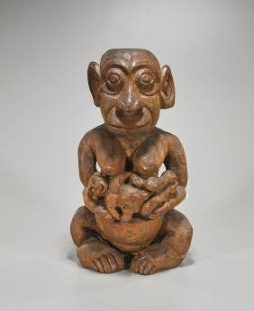 Large Carved Wood Monkey Group